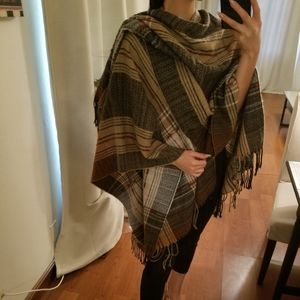 Free People Riding Plaid Shawl Throw Blanket Scarf